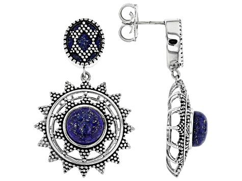 Lapis Lazuli Rhodium Over Sterling Silver Earrings