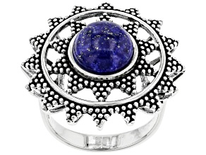 Lapis Lazuli Rhodium Over Sterling Silver Statement Ring