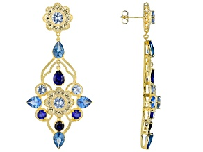 Blue Lab Created Spinel 18k Gold Over Brass Earrings 19.63ctw