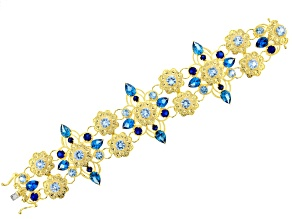 Blue Lab Created Spinel 18k Gold Over Brass Bracelet 34.90ctw