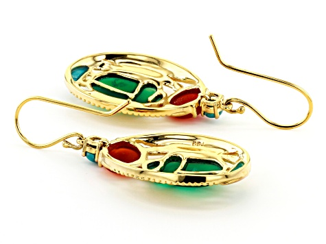 Multi Stone 18K Yellow Gold Over Brass Scarab Earrings