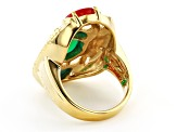 Multi Stone 18K Yellow Gold Over Brass Egyptian Inspired Scarab Ring