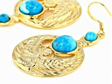 Blue Turquoise  18k Yellow Gold Over Brass Egyptian Ma'at Design Earrings