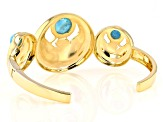 Turquoise 18k Yellow Gold Over Brass Egyptian Ma'at Design Cuff Bracelet