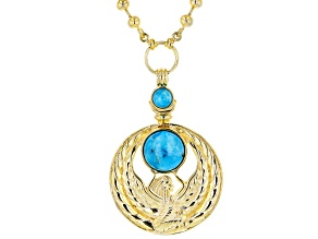 Turquoise 18k Yellow Gold Over Brass Egyptian Ma'at Design Necklace