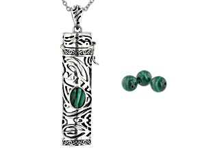 Malachite Silver Hawaiian Inspired Design Prayer Box Pendant With Chain