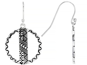 Oxidized Sterling Silver Hawaiian Inspired Tribal Design Earrings