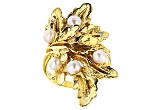 Cultured Fresh Water Pearl 18K Yellow Gold Over Silver Ring