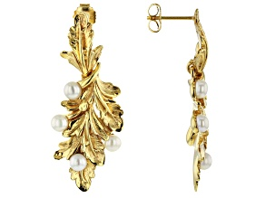 Cultured Fresh Water Pearl 18k Yellow Gold Over Silver Earrings