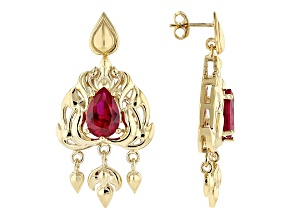 Global Destinations™ Lab Created Ruby 18K Yellow Gold Over Silver Earrings 6.81ctw