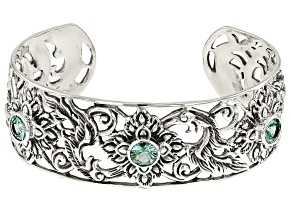 Lab Created Green Spinel Sterling Silver Bracelet 3.32ctw