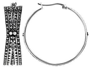 Sterling Silver African Inspired Tribal Design Hoop Earrings