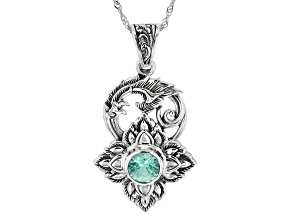 Lab Created Green Spinel Sterling Silver Pendant With Chain 2.00ct