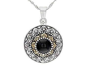 Picture of Black Onyx Silver & 18K Gold Over Silver Two-Tone    Enhancer With Chain