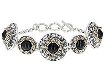 Picture of Black Onyx Silver & 18k Gold Over Silver Two-Tone Bracelet