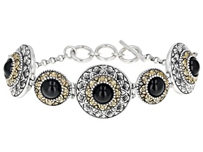 Black Onyx Silver & 18k Gold Over Silver Two-Tone Bracelet