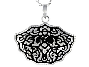 Sterling Silver Floral Design Pendant With Chain