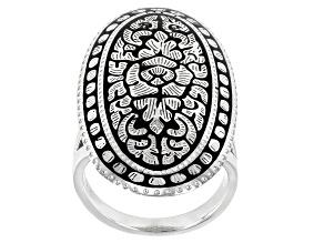 Sterling Silver Floral Design Ring