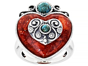 Red Sponge Coral Sterling Silver Heart Ring
