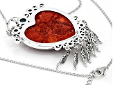 Red Sponge Coral Sterling Silver Enhancer With Chain