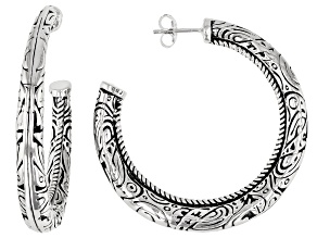 Solid Rhodium Over Sterling Silver Hoop Earrings