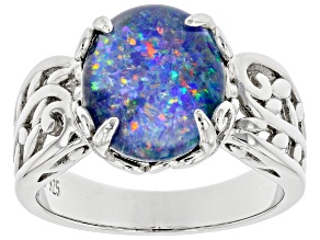 Multi Color Australian Opal Triplet Rhodium Over Sterling Silver Ring