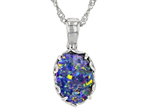 "Multi Color Australian Opal Triplet Rhodium Over Sterling Silver Enhancer With 18"" Chain"