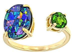 Mosaic Australian Opal & Chrome Diopside 18K Gold Over Silver Ring 0.47ct