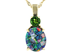 Mosaic Australian Opal & Chrome Diopside 18K Gold Over Silver Pendant W/ Chain 0.47ct
