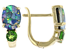 Mosaic Australian Opal & Chrome Diopside 18K Gold Over Silver Earrings 0.47ctw