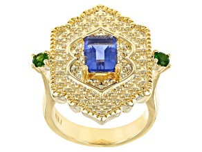 Fluorite & Chrome Diopside 18K Gold Over Brass Ring 1.90ctw