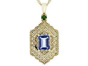 "Fluorite & Chrome Diopside 18K Gold Over Brass Pendant W/ 18"" Chain 1.79ctw"