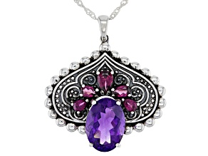 Amethyst And Rhodolite Rhodium Over Silver Pendant W/18