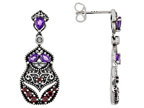 Amethyst, Zircon, & Garnet Nesting Doll Rhodium Over Silver Earrings 0.90ctw