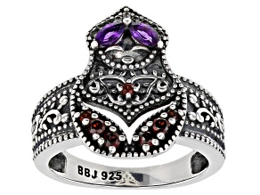 Amethyst, Zircon, & Garnet Nesting Doll Rhodium Over Silver Ring 0.90ctw