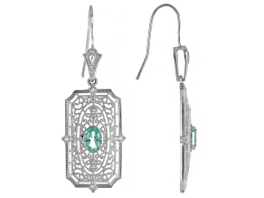 Green Lab Created Spinel Rhodium Over Sterling Silver Earrings. 1.34ctw