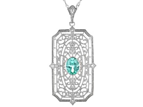 Green Lab Created Spinel & Zircon Silver Enhancer With 18