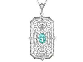 "Lab Created Spinel & Zircon Silver Pendant W/ 18"" Chain 1.72ctw"