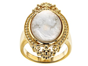Mother Of Pearl Cameo 18K Gold Over Brass Ring
