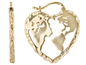 18k Yellow Gold Over Brass Heart Shape Globe Earrings