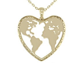"""18k Yellow Gold Over Brass Heart Globe Pendant With 18"""" Chain"""