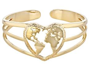 18k Yellow Gold Over Brass Heart Shape Globe Cuff
