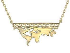 18k Gold Over Brass Globe Cutout Necklace