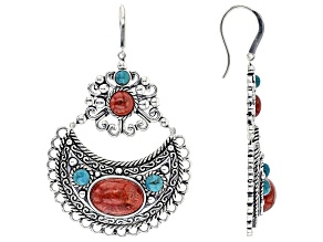 Red Sponge Coral And Turquoise Sterling Silver Over Brass Earrings