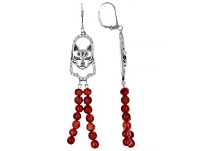 Red Sponge Coral With White Zircon Sterling Silver Cat Earrings 0.85ctw