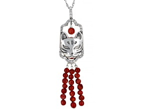 Red Sponge Coral With White Zircon Sterling Silver Cat Pendant With Chain 0.93ctw