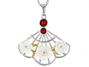 Red Sponge Coral Rhodium & 18K Yellow Gold Over Silver Two-Tone Pendant With Chain