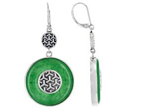Round Green Jadeite Sterling Silver Dangle Earrings