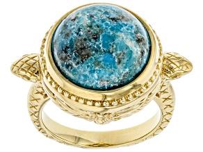 Turquoise 18k Yellow Gold Over Brass Snake Egyptian Inspired Scarab Snake Ring