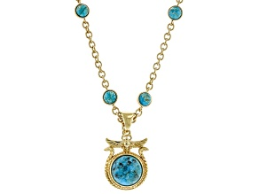 Round Turquoise 18k Yellow Gold Over Brass Snake Egyptian Inspired Scarab Enhancer